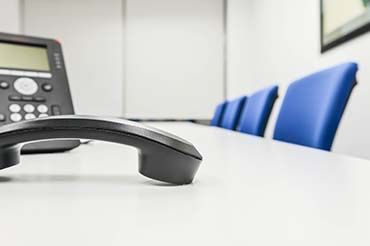 Black IP Phone in the meeting room